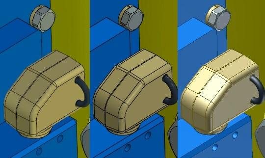 Aktywność opcji antyaliasingu w T-FLEX CAD 12 i systemie X oraz jej brak w systemie Y.